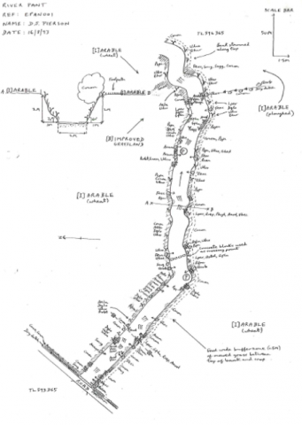 Sample map of a section of the River Pant from the original paper records