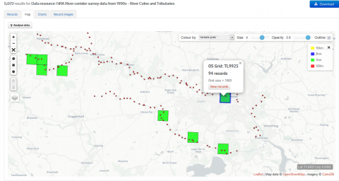 River Colne data on the NBN Atlas (Click to enlarge)